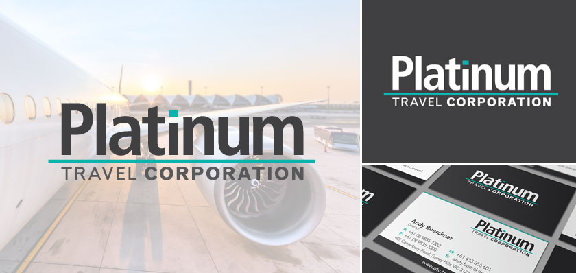 Platinum travel corporation logo design