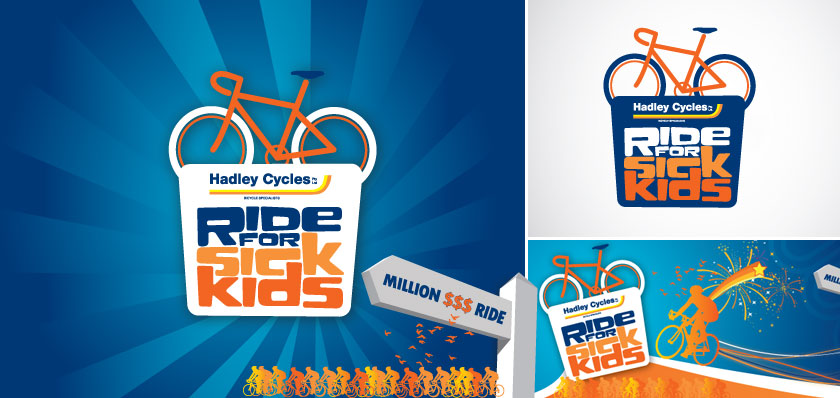 ride for sick kids logo design