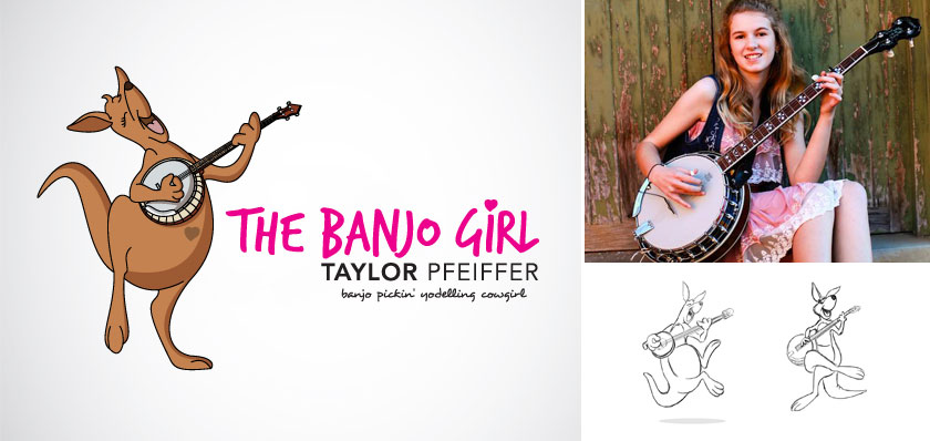 the banjo girl logo design