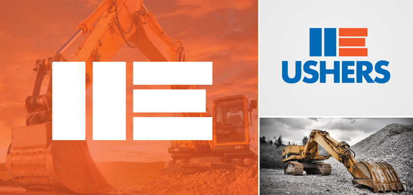 ushers excavations logo design
